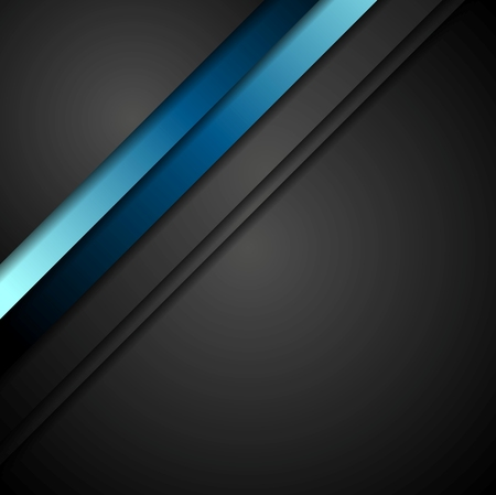 shiny black: Abstract blue stripes vector background