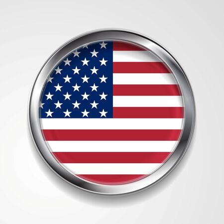 flag button: Abstract vector button with metallic frame. USA flag Illustration