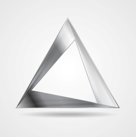 Abstract silver triangle vector design Vector