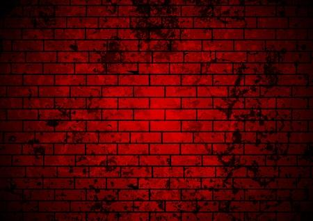 Dark red grunge brick wall background. Vector design
