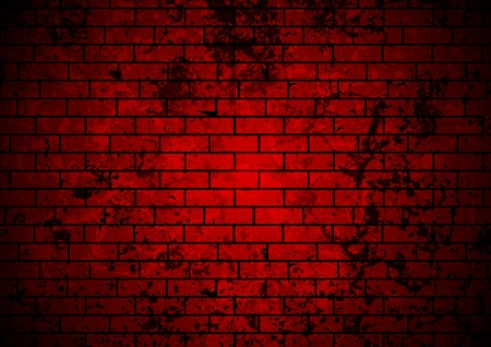 light and dark: Dark red grunge brick wall background. Vector design