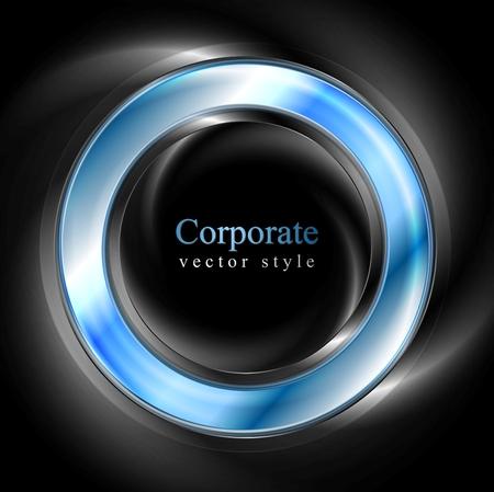 Bright glow blue web circle element. Logo vector background Illustration