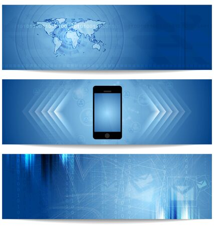 Blue abstract tech banners for web design. Vector template Vector