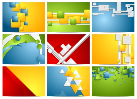 Colorful bright technology backgrounds. Vector collection Vector