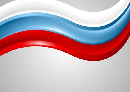 russia flag: Wavy Russian colors background. Flag vector design