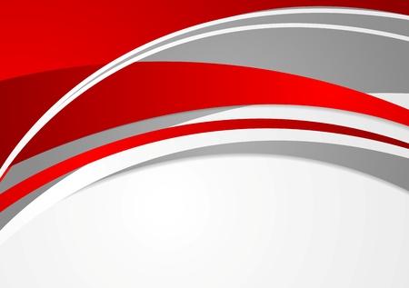 곡선: 추상 붉은 색과 회색 물결 모양 배경. 벡터 디자인
