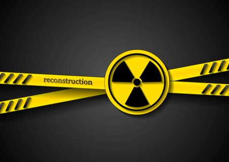 caution tape: Danger vector tape abstract background with radiation symbol Illustration
