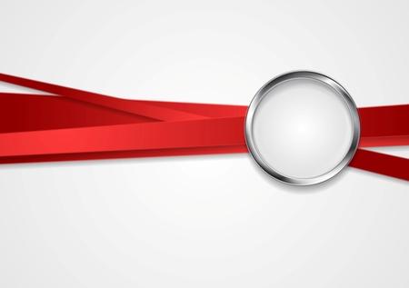 Rayas rojas con diseño del círculo del metal. Foto de archivo - 31997912