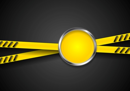 caution tape: Danger tape abstract background with metal circle