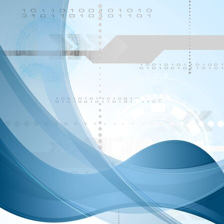 Technology vector background with blue waves Vector