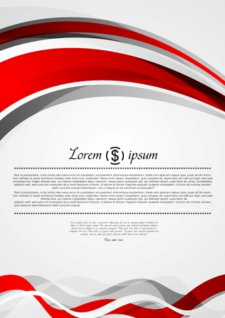 bend: Abstract red and grey wavy corporate flyer design. Vector background