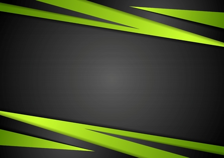 green lines: Black and green abstract design. Vector background