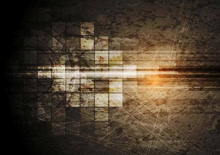 Grunge tech achtergrond. Vector ontwerp Stock Illustratie
