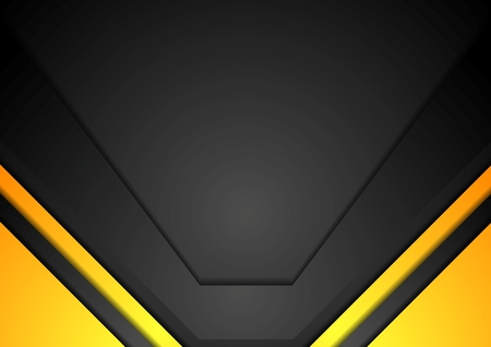 at yellow: Yellow and black corporate art background. Vector design Illustration