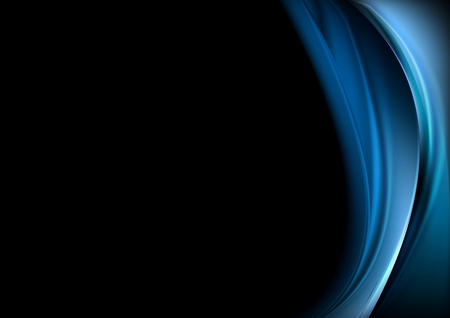 Blue waves on black background. Vector design