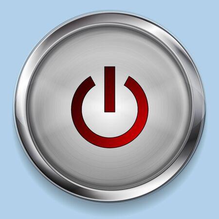 power switch: Realistic steel metal power button web design. Vector illustration Illustration