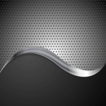 Abstract vector perforated metal background and steel wave Vector