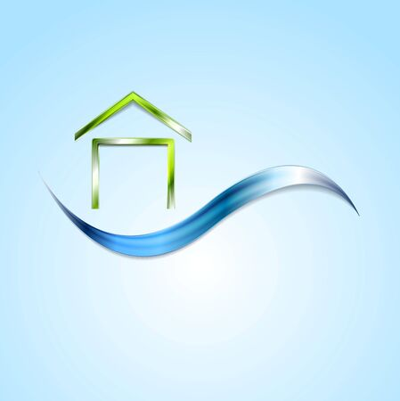 house logo: Bright house logo and wave design. Vector background