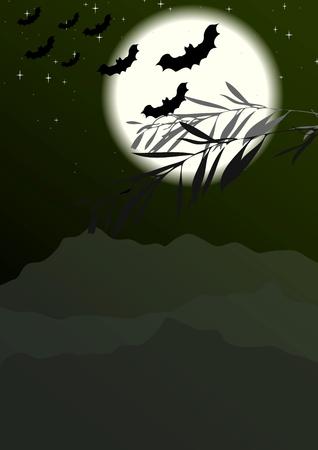 Bats silhouettes on full moon background. Vector halloween design Vector
