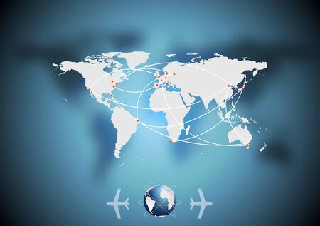air traffic: Aire tr�fico vector fondo azul con el mapa del mundo