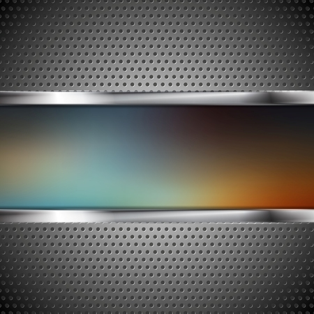 Blurred banner and perforated metal texture. Vector background Vector