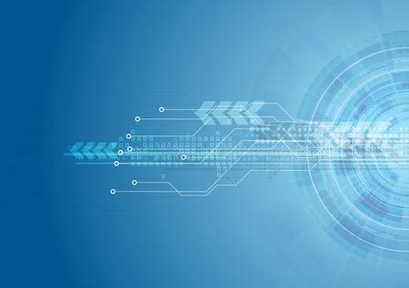 Blue bright hi-tech circuit board background. Vector design