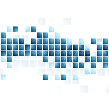 Blue tech squares on white background. Vector design