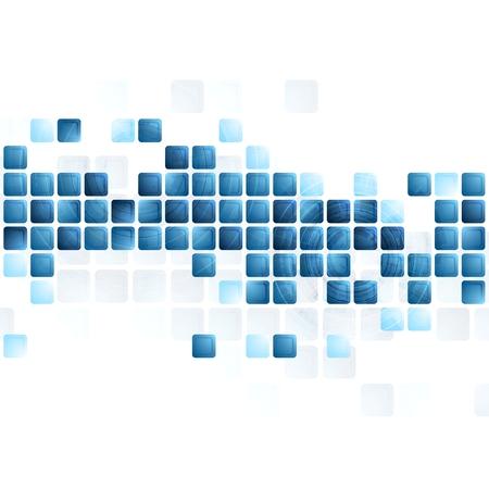 Blauwe tech vierkantjes op een witte achtergrond. Vector ontwerp Stockfoto - 33993013