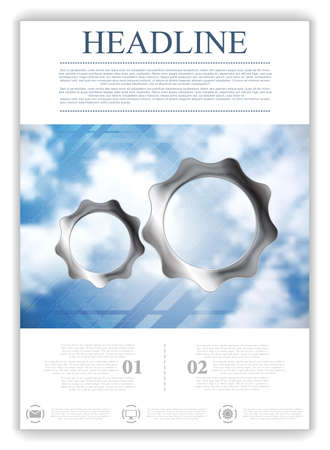 Abstract tech flyer template with cloudy sky and metal gears. Vector brochure Vector
