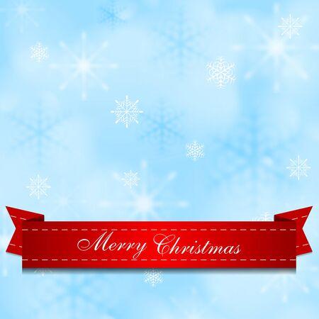 Licht glanzende blauwe achtergrond met rood lint. Ontwerp vector Kerst