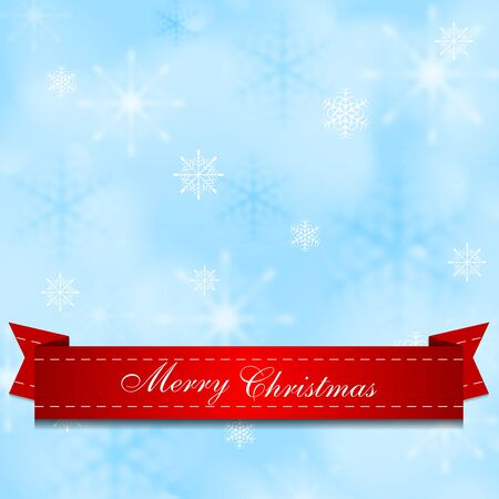 Light shiny blue background with red ribbon. Vector Christmas design