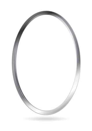 Steel metal ellipse frame. Vector abstract border