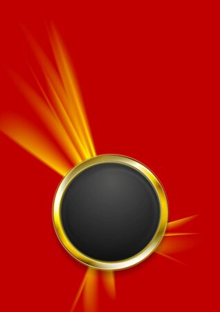 Abstract tech background with golden circle shape. Vector illustration
