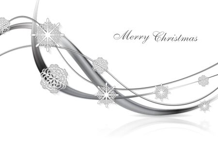 silver metal: Silver metal abstract Christmas background with snowflakes and waves. Illustration