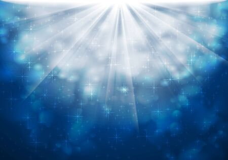 iridescent: Blue sparkling lights abstract shiny background. Vector design Illustration