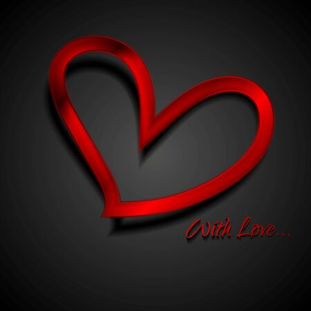 red metal: Valentine Day background with red metal hearts. Vector illustration