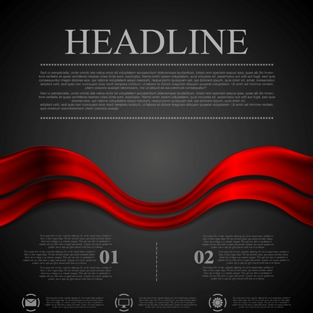 Dark red futuristic waves background. Vector design Ilustração