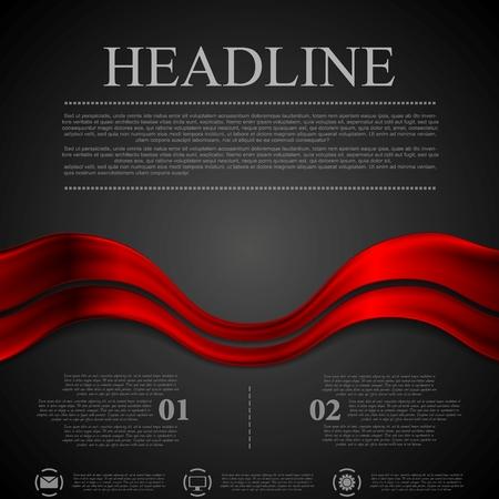 Dark red futuristic waves background. Vector design Illustration