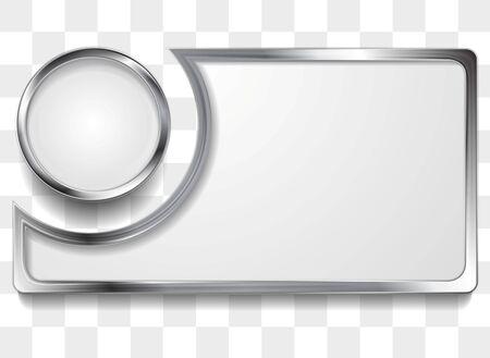 metal frame: Metal silver frame background. Vector design Illustration