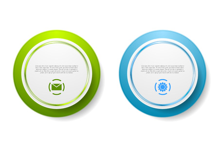 sticker: Abstract green and blue circle stickers. Vector design
