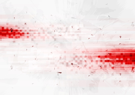 Grunge red hi-tech background with squares.  Vector