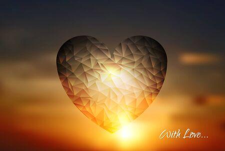 sunset sky: Heart geometric shape on sunset sky. Vector design