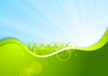 iridescent: Summer background with wave and grass. Vector design