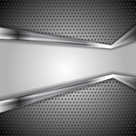 silver metal: Abstract vector perforated metal background