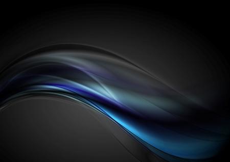 Dark blue futuristic wavy background. Vector design