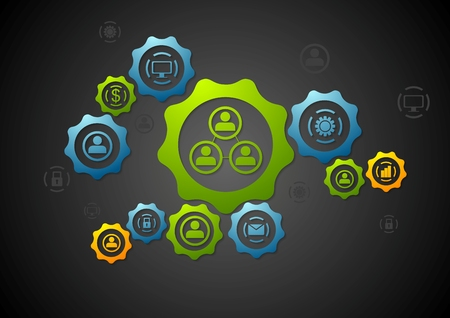 business service: Abstract background with gears and icons. Technology vector design template Illustration