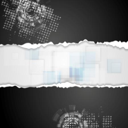 roztrhaný: Grunge technické zázemí s otrhané okraje papíru. Vektorové design