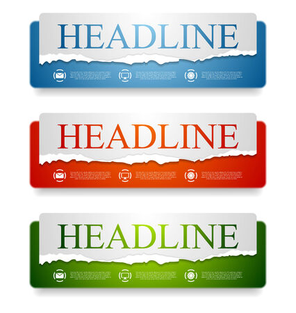 Abstract bright web headers design with ragged paper edge.  Vector