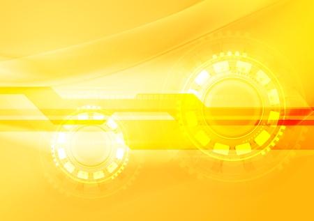 iridescent: Abstract yellow wavy tech