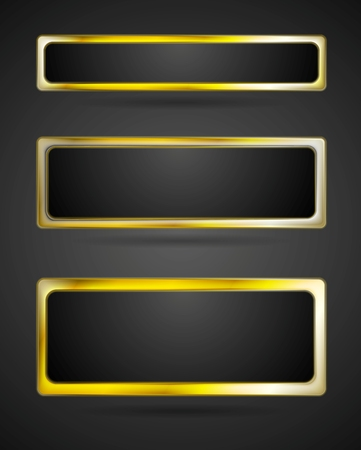 golden border: Golden metal banner frame. Vector abstract border Illustration